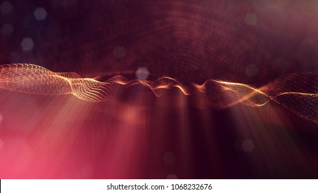 science fiction background of glowing particles with depth of field and bokeh. Particles form line and abstract surface grid. 3d rendering V82 red gold with light rays