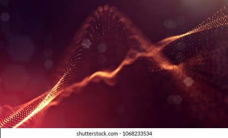 science fiction background of glowing particles with depth of field and bokeh. Particles form line and abstract surface grid. 3d rendering V18 red gold