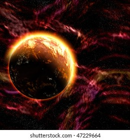 Science fiction cosmic planet complex space scene illustration