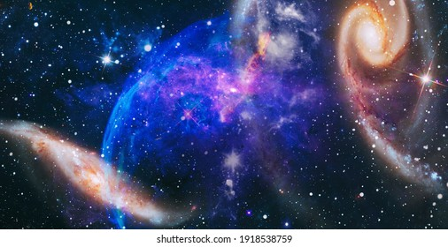 Science fiction fantasy in high resolution ideal for wallpaper. Dreamscape galaxy. Elements of this image furnished by NASA.