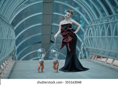 Science fiction fashion. Android girl with bulb puppets