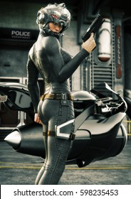 Science Fiction female police officer posing in front of her jet bike ,wearing helmet and uniform with police station in background. 3d rendering illustration