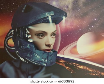 Science fiction, female portrait against fantastic skies