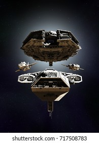 Science fiction illustration of a deep space battle fleet of four spaceships in formation, digital illustration (3d rendering)