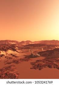 Science fiction illustration of a future colony on Mars, digital illustration (3d rendering)