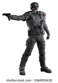 Science fiction illustration of a future marine ranger soldier wearing urban camouflage and aiming a gun, digital illustration (3d rendering)