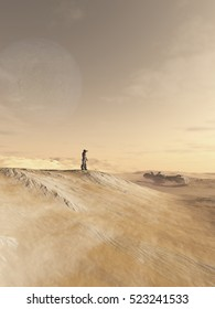 Science fiction illustration of a future soldier scanning an alien desert planet outside his space ship, digital illustration (3d rendering)