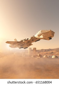 Science fiction illustration of a future space shuttle landing in a dust storm at an outpost town on Mars, digital illustration (3d rendering)