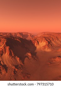 Science fiction illustration of an imaginary canyon landscape on Mars with red sky, digital illustration (3d rendering)