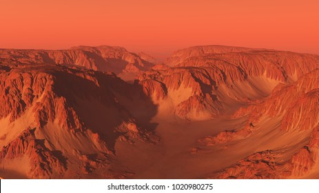 Science fiction illustration of an imaginary mountain canyon landscape on Mars with red sky, digital illustration (3d rendering)