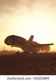 Science fiction illustration of an interplanetary spaceship unloading cargo at sunset on a desert planet, digital illustration (3d rendering)