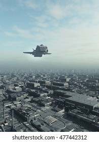 Science fiction illustration of an interstellar spaceship flying over a future city, digital illustration (3d rendering)