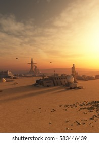Science fiction illustration of an outpost town in the desert on an alien world, digital illustration (3d rendering)
