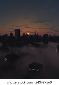 Science fiction illustration of the streets of a future city filled with mist at sunrise, 3d digitally rendered illustration