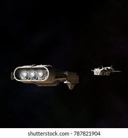 Science fiction illustration of two spaceships meeting in the darkness of outer space, digital illustration (3d rendering)