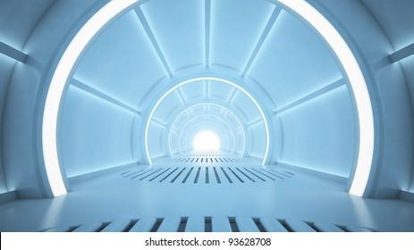 Science fiction interior rendering - sci-fi corridor