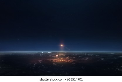 Science fiction space wallpaper, spaceship starting from earth. Elements of this image furnished by NASA