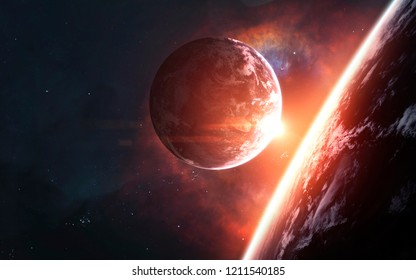 Science fiction visualisation of deep space planets and galaxies. Elements of this image furnished by NASA