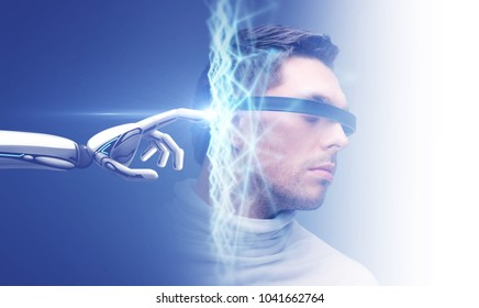 science and future technology concept - robot hand connecting to virtual low poly hologram over male head on blue background