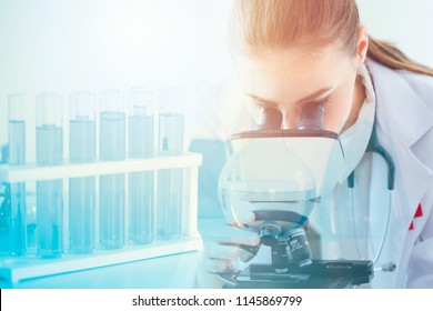 Science health research lab doctor scientist with microscope