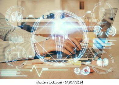 Science hologram with man working on computer on background. Concept of study. Double exposure.
