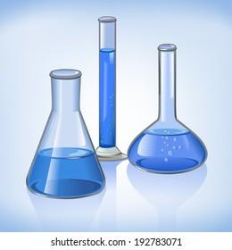 Science laboratory flasks glassware template on blue still life symbol  illustration