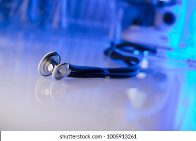 Science laboratory. Laboratory glassware, microscope, test tubes. Research and development.