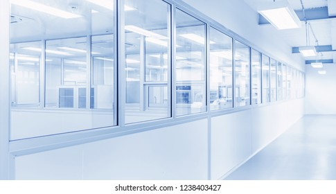 science laboratory or modern interior industrial factory background with gateway and brightness fluorescent lighting