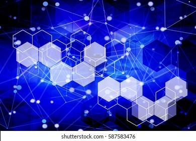 Science molecular structure digital design. Abstract hexagonal technology concept background.
