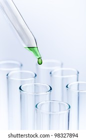 Science research concept macro with pipette and tubes