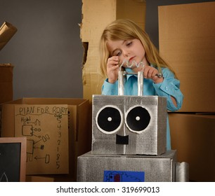 A science student is inventing a metal robot out of cardboard boxes with tools. Use it for an education or imagination concept.