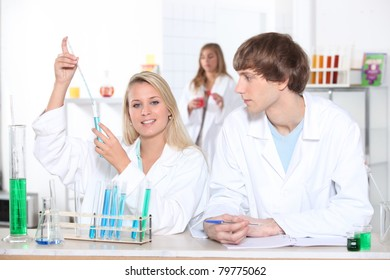 Science students in laboratory