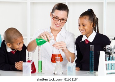 science teacher teaching students in lab