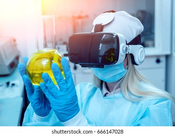 Science technician in virtual reality glasses examines the drug in laboratory. Medical background