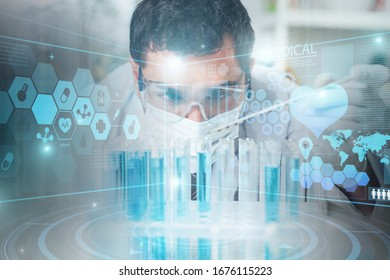 Science technology concept. Male scientist in the laboratory