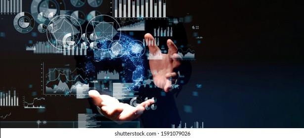 Science technology concept. Scientist. Mathematics. Physics. Analytics.