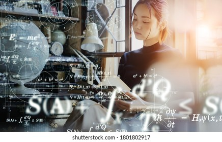 Science technology concept. Studying asian girl. Education. EdTech.