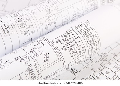 Science, technology and electronics. Electrical engineering drawings printing. Scientific development.