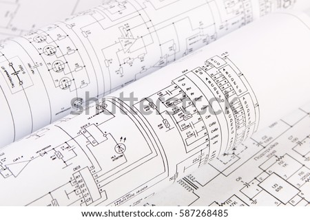 Science Technology Electronics Electrical Engineering Drawings Stock