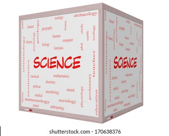 Science Word Cloud Concept on a 3D Cube Whiteboard with great terms such as biology, earth, ecology, natural and more.