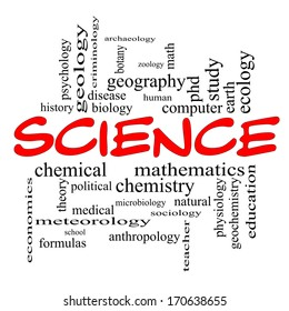 Science Word Cloud Concept in red caps with great terms such as biology, earth, ecology, natural and more.
