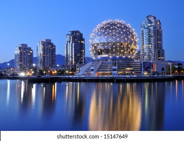 Science World at night, Vancouver, Canada