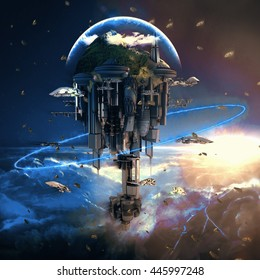 Science-fiction city with giant skyscrapers and flying spaceships 3d