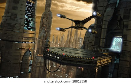 Science-fiction city scene with starfighter touching down (3D render)