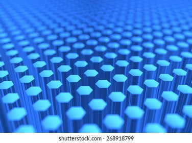 A scientific image of many blue glass hexagons.