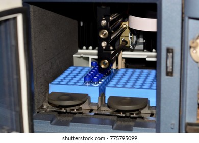 Scientific laboratory testing, auto sampler with samples.