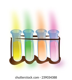 Scientific test tube. A scientific test tube with yellow,green,orange, and pink experimental liquid inside.