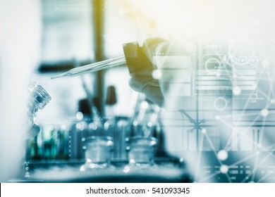 Scientist are certain activities on experimental science like mixing chemicals, use microscope, entry data to develop medicines or foods for everyone on the world, copy space, film effect.