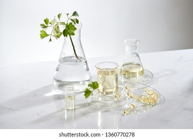 the scientist or doctor make herbal medicine from herb in the laboratory on the table .alternative treatment. show hand and stethoscope. with the bottle container.