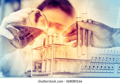 scientist with equipment and science experiments ,Laboratory glassware containing chemical liquid, science research background.